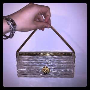 Vintage Lucite and Brass Hinged Purse